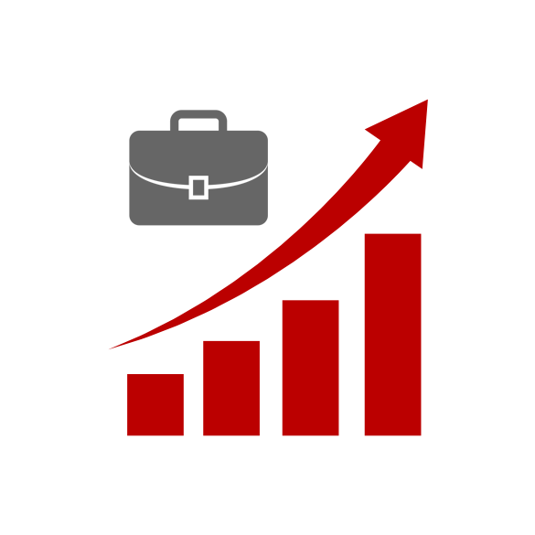 Illustration of a brief case and upward trending bar graph