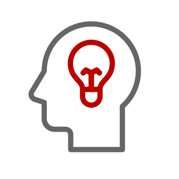 Illustration of a silhouetted head with a lightbulb inside