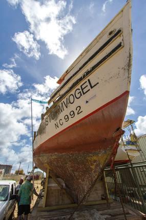 Stormvogel is being restored here at the Navegante Boatyard on Bonaire.