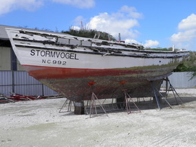 Stripped down to her historical core, Stormvogel awaits transport to Bonaire.