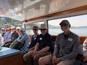 Group on Boat to convent on lake Orta.JPG