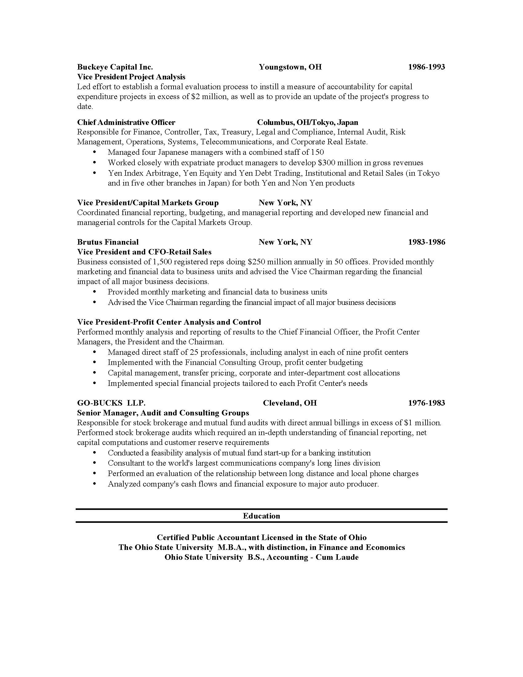 resumes and cover letters the ohio state university alumni chronological resume chronological resume2