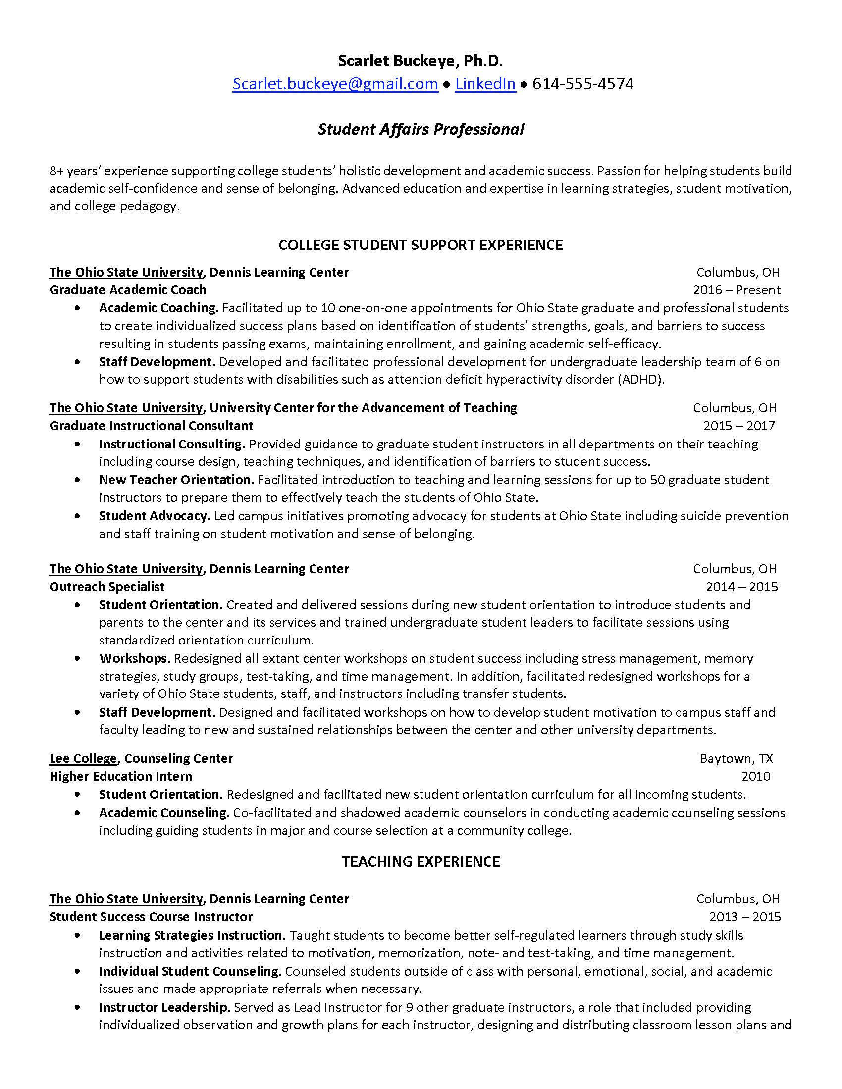 resume cover letter example for college students