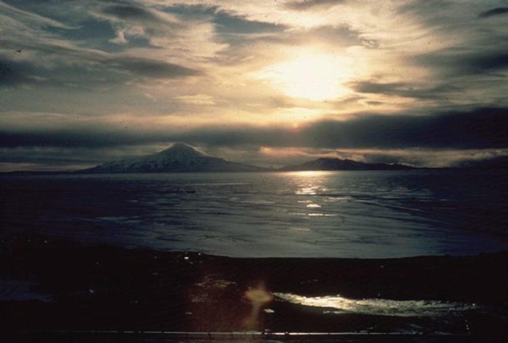 The women had this view across McMurdo Sound as their groundbreaking expedition came to a close.