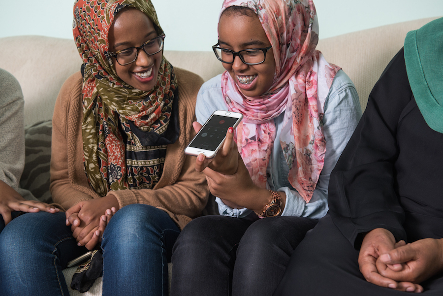 Nima, left, and Fatima enjoy some long-distance sister time.