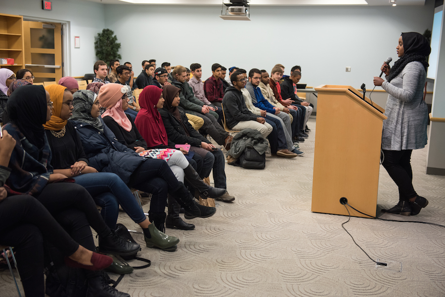 Dahir talks with members of Ohio State's Muslim Students' Association during a recent trip back to campus.