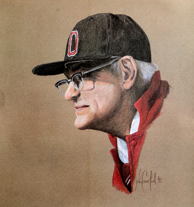 This familiar image of Woody Hayes — which Crawford created with colored pencils in 1995 — raised funds for Ohio State's Wayne Woodrow Hayes Chair in National Security Studies.