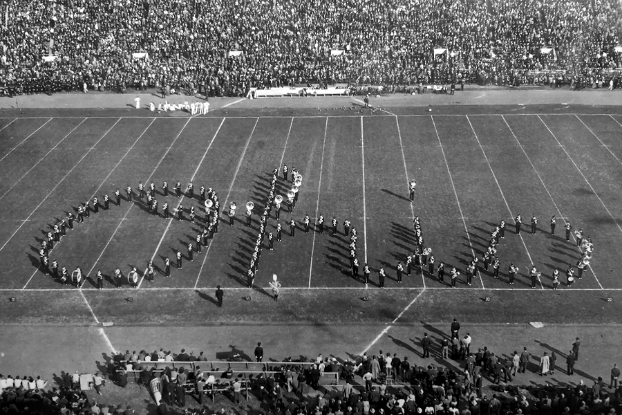 The Ohio State marching band performs Script Ohio.