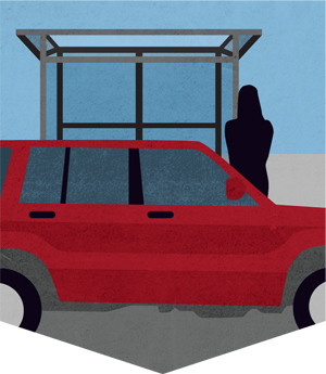 An illustration depicting a car pulling up to a curb to pick up a person