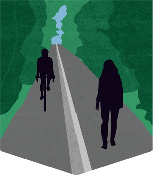 An illustration depicting a bicyclist and pedestrian sharing a multiuse path