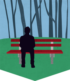 An illustration depicting a person waiting on a bench