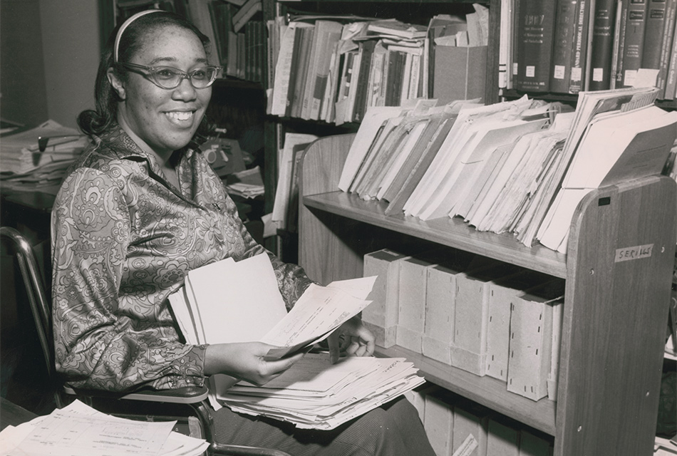Jean Williams at work in Thompson Library