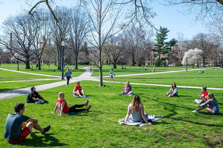 "Students who serve as university ambassadors held a ""social-distancing social"" on the Oval in early April."