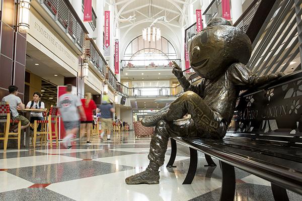photo of bronze Brutus statue in the Ohio Union