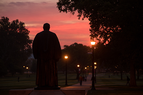 photo of Oxley statue at sunset