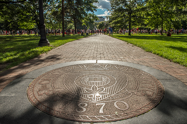 The Ohio State University seal on The Oval