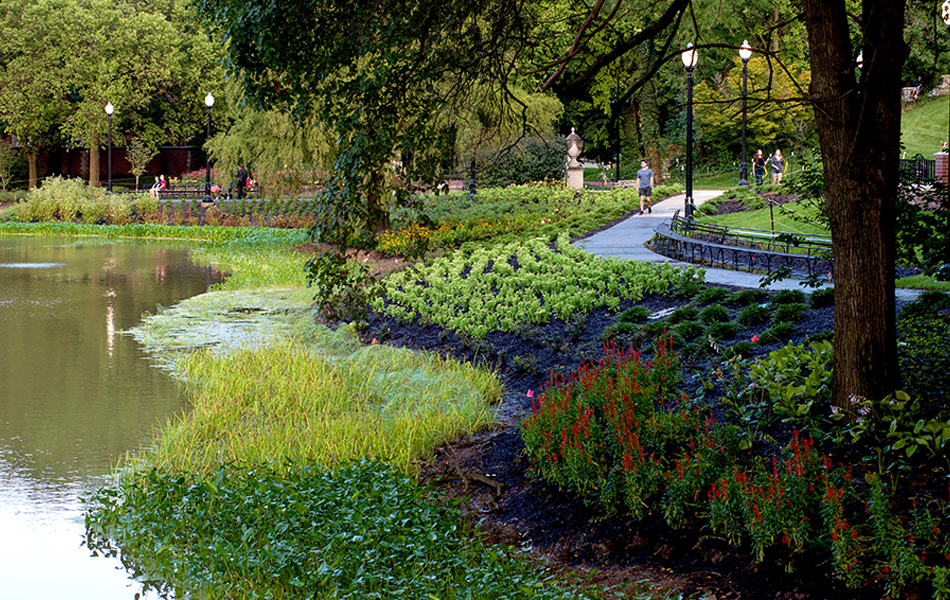 Landscaping around Mirror Lake at The Ohio State University