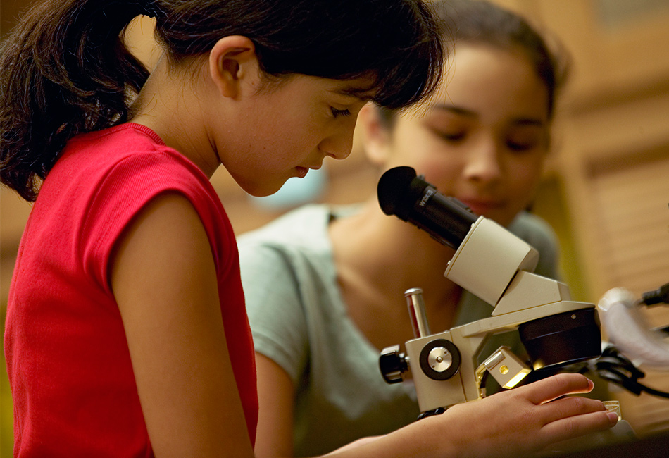 A girl looks through a microscope lens