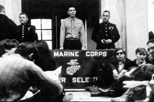 Marine Corps recruiters and protesters at Ohio State in 1968