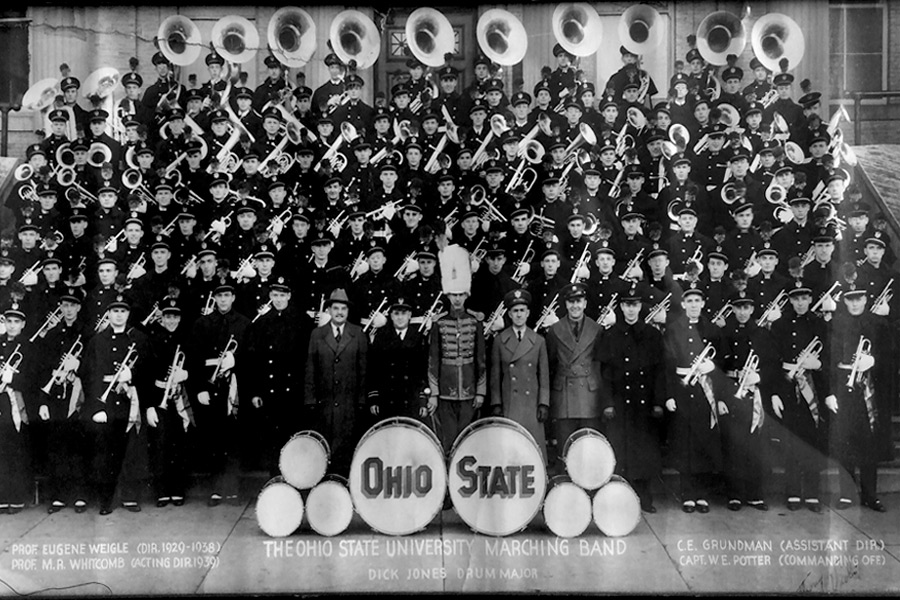 The 1939 Ohio State University marching band's official portrait.
