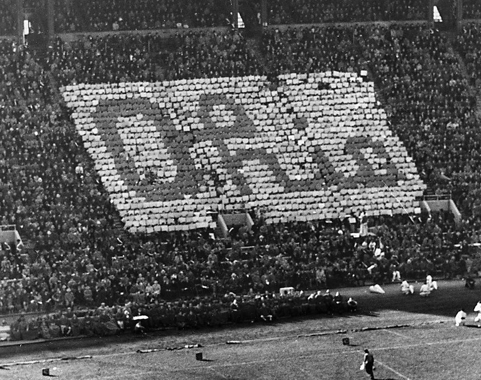An early Script Ohio stunt by Block O at Ohio Stadium
