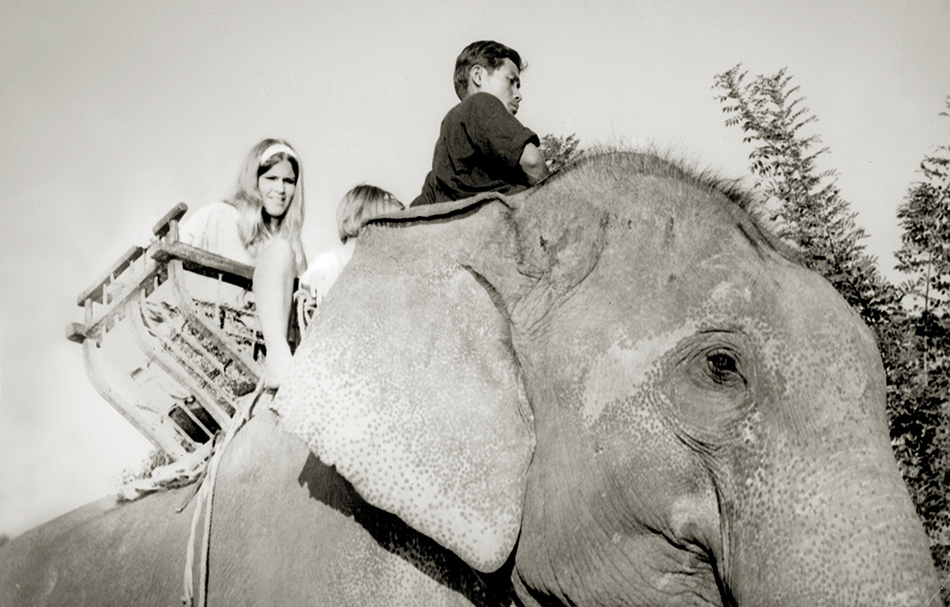 Evelyn accepts a ride on an elephant in Bangkok