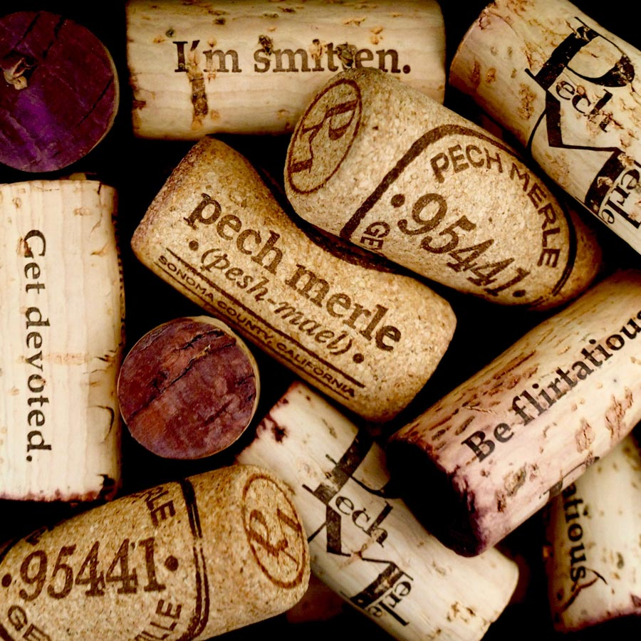 Photo of various Pech Merle corks in a pile.