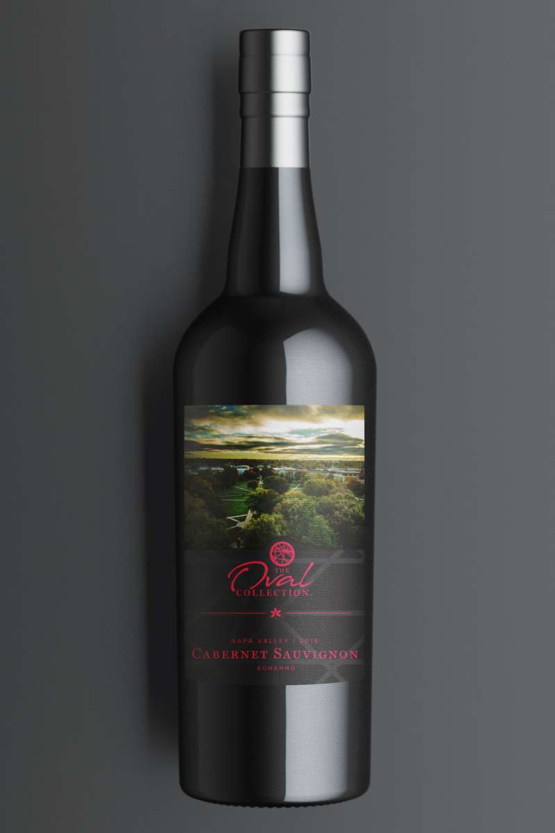 A bottle of red Cabernet Sauvignon wine on a dark background