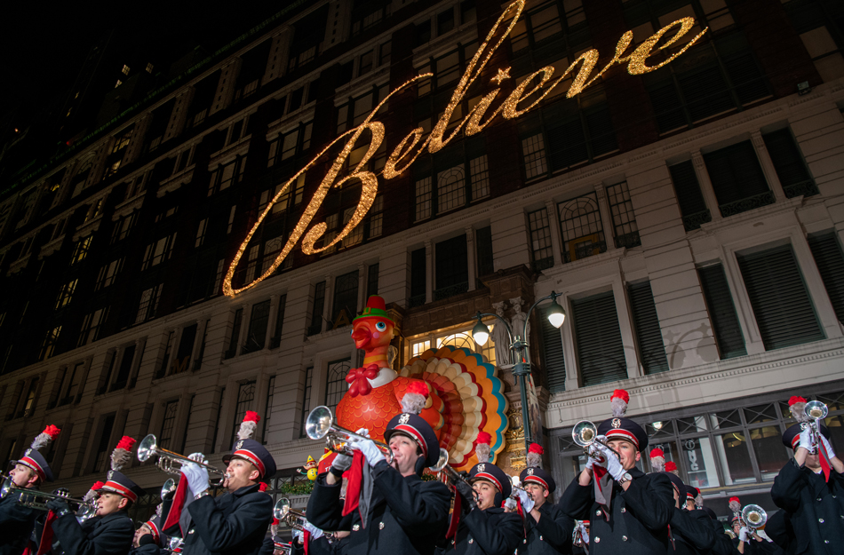 The Ohio State University marching band plays in front of Macy's flagship store in New York City in November 2018.