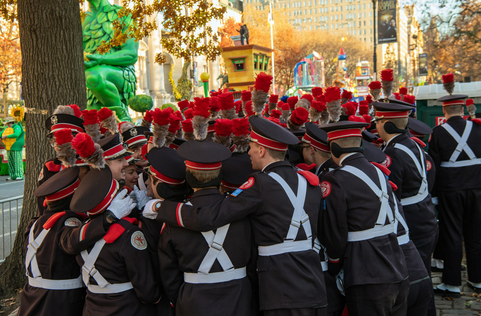 Members of The Ohio State University marching band gather for a pre-Thanksgiving parade huddle in New York City in November 2018.