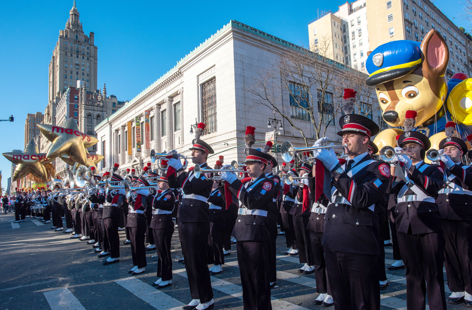The Ohio State University marching band performs in the Macy's Thanksgiving Day parade in New York City on Nov. 22, 2018.