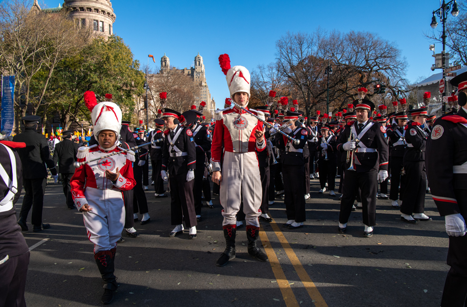 Konner Barr, the Ohio State University marching band drum major, is pictured at the center of a frame that also captures other members of the band ahead of their scheduled appearance in the annual Macy's Thanksgiving Day parade on Nov. 22, 2018, in New York City.