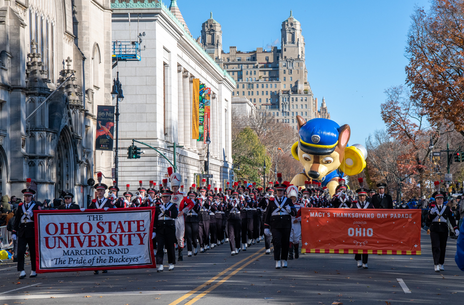 The Ohio State University marching band proceeds along the parade route of the annual Macy's Thanksgiving Day parade on Nov. 22, 2018, in New York City.