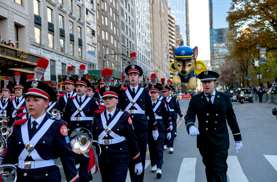 The Ohio State University marching band performs in the annual Macy's Thanksgiving Day Parade in New York City.