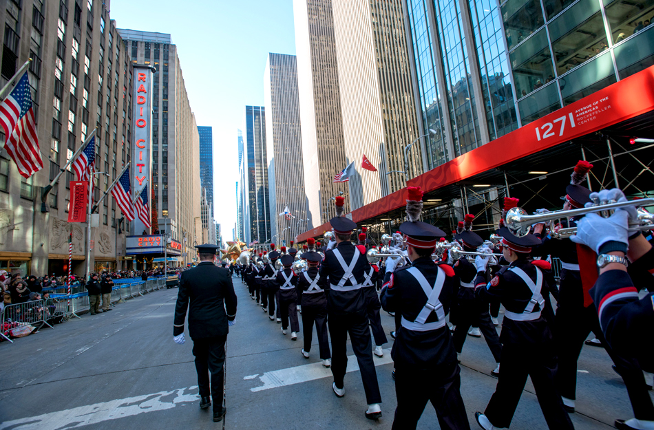The Ohio State University marching band walks toward Radio City Music Hall along the Macy's Thanksgiving Parade route on Nov. 22, 2018.
