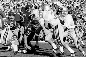 The Ohio State University Buckeyes play in the 1969 Rose Bowl in Pasadena, California