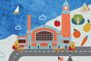 Illustration of the West Side Market in Cleveland, Ohio