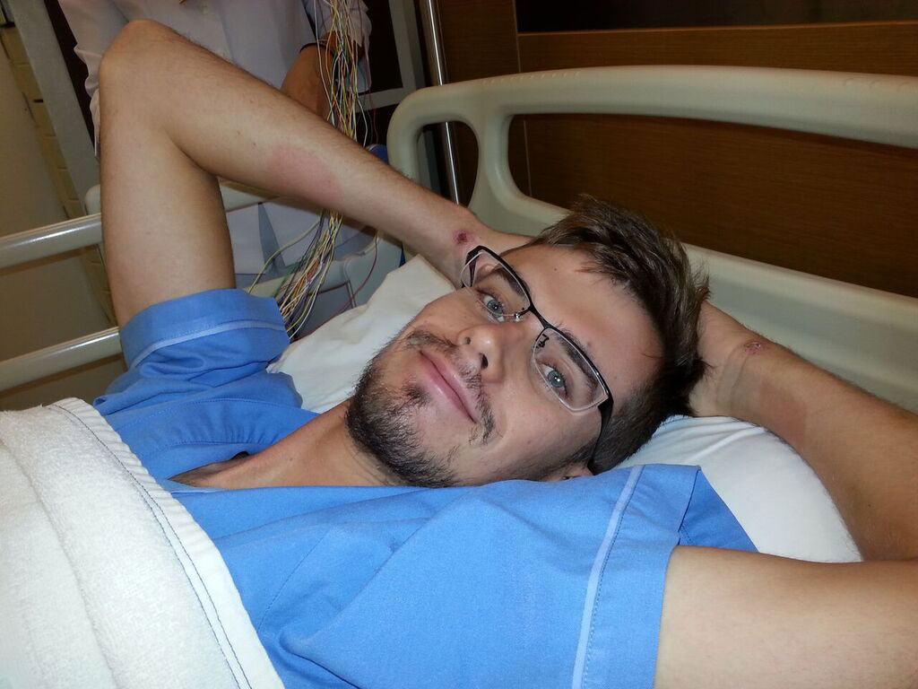 <i>Felty was happy to be out of a coma at Bumrungrad International Hospital in Bangkok.</i>
