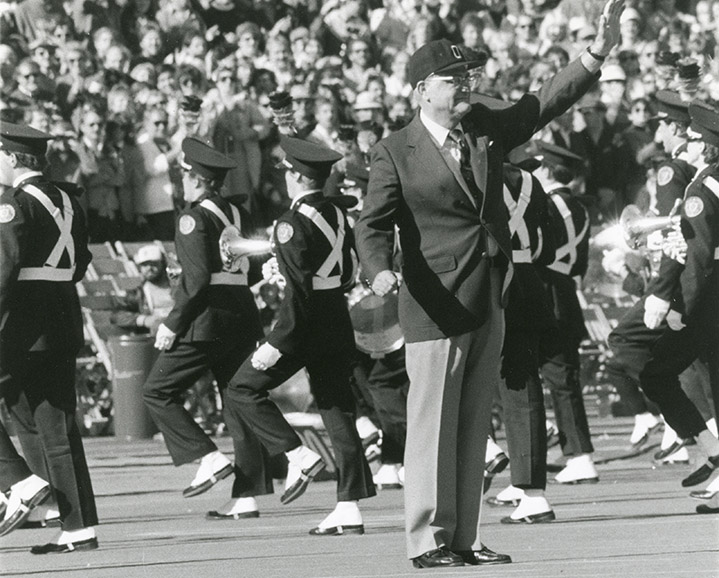 Woody Hayes dots the i in 1983.