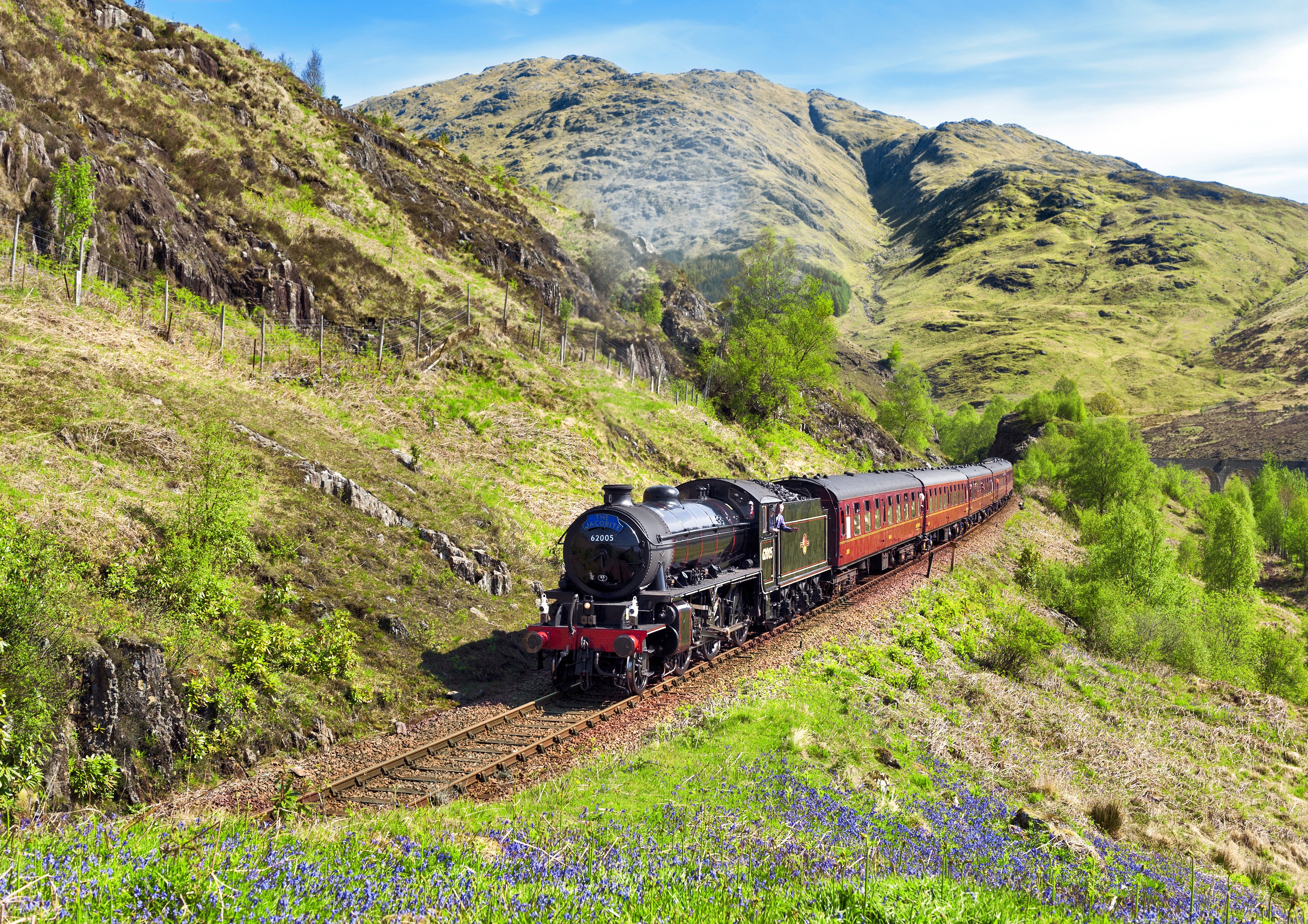 Gohagan_2018_CelticLands_02_JacobiteSteamTrain_Ref 29 Jacobite climbing to Glenfinnan May Dick Manton.jpg