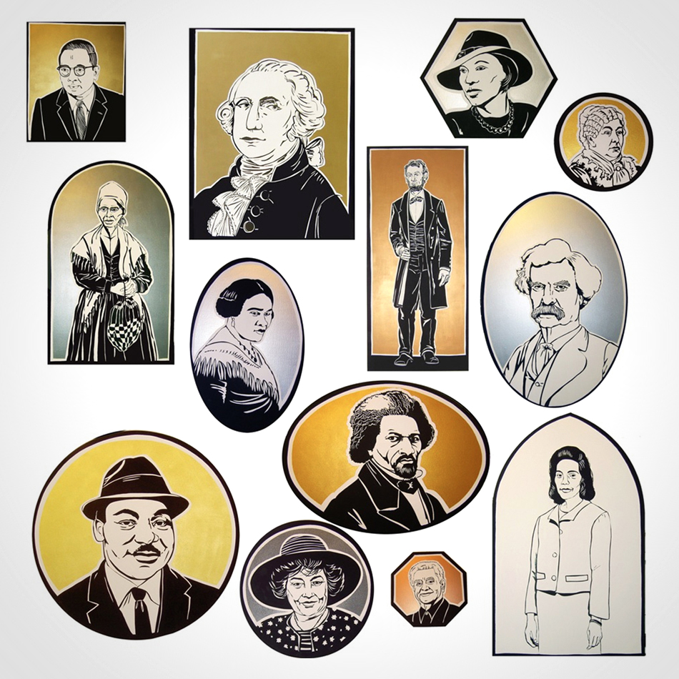 Thirteen portraits of influential Americans hang in Public School 169 in the Bronx.