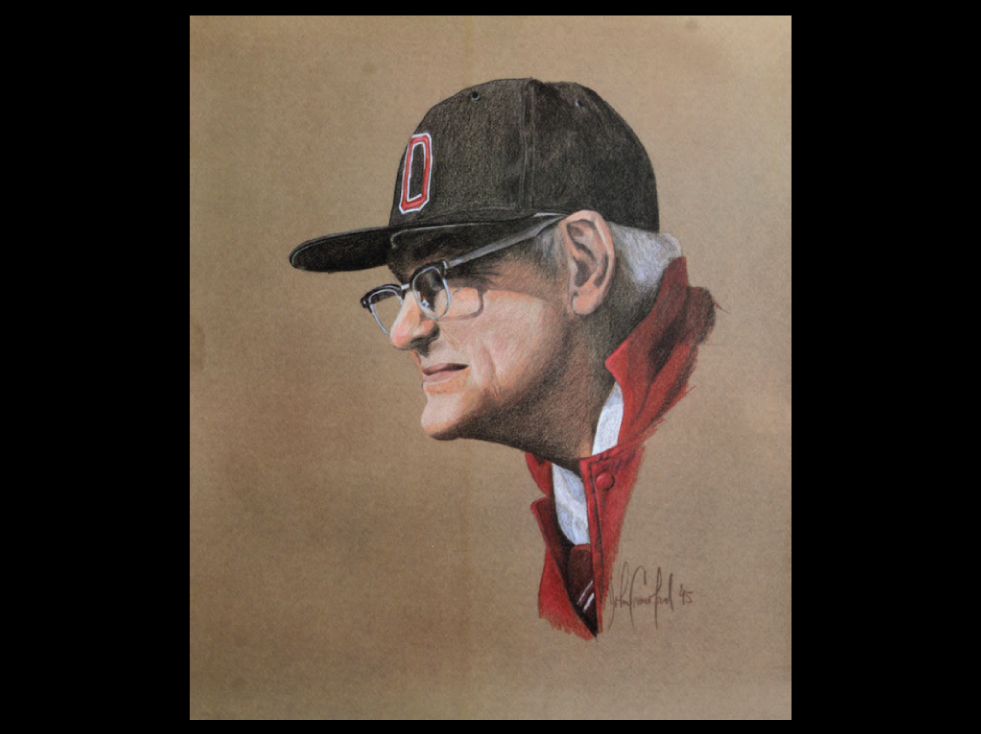 Crawford used colored pencils to draw this familiar image of Woody Hayes, which he created in 1995 to raise money for Ohio State's Wayne Woodrow Hayes Chair in National Security Studies.