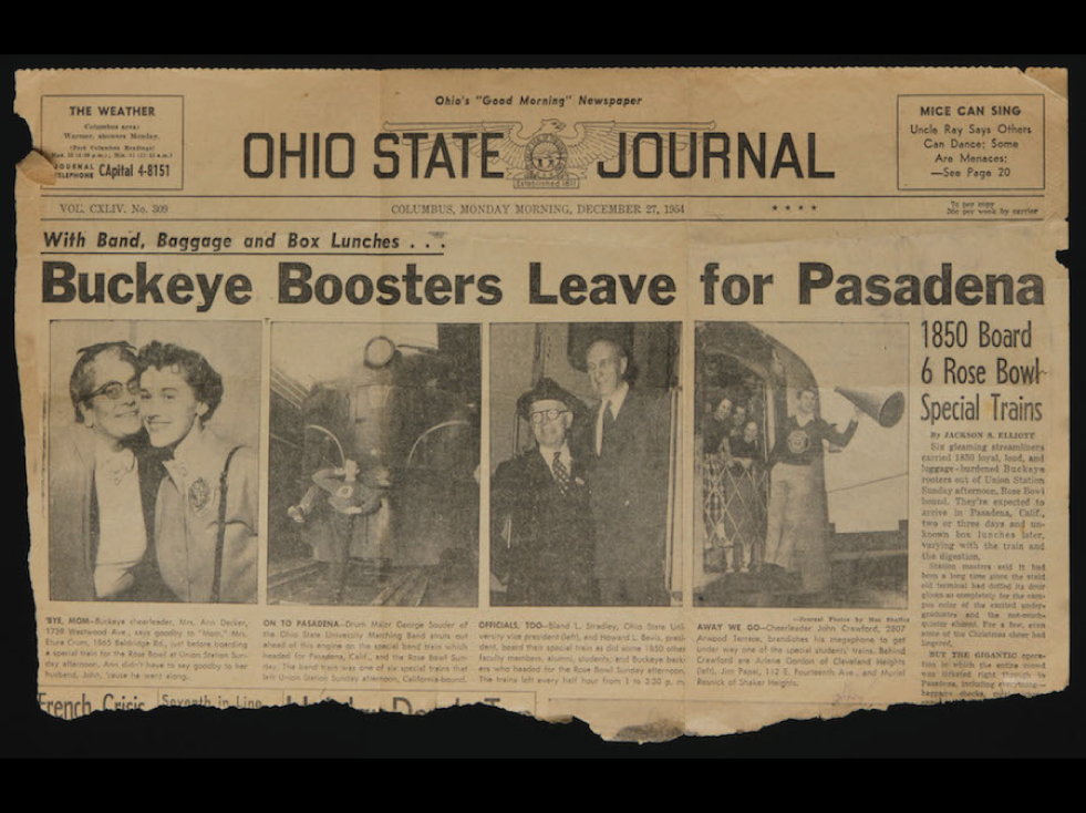 The front page of the Ohio State Journal previewed the '55 bowl game in a big way.