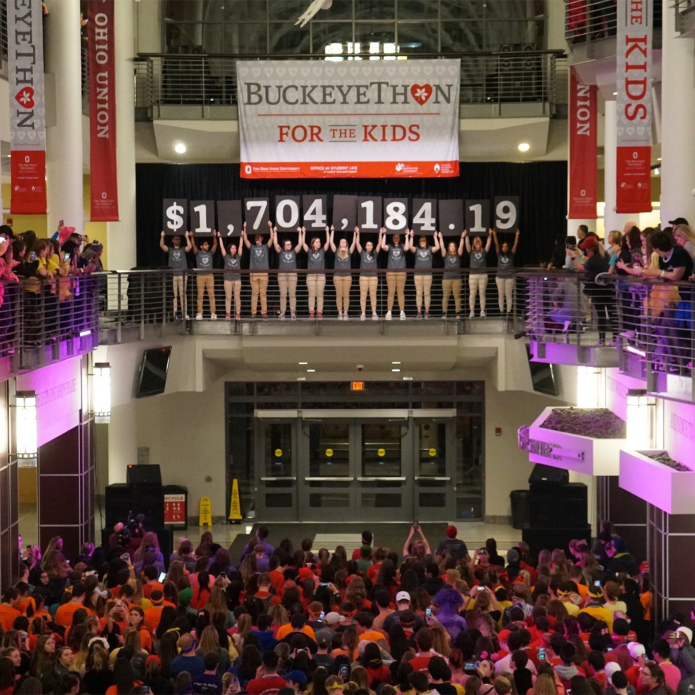 People gather in the Ohio Union to announce the amount raised by BuckeyeThon