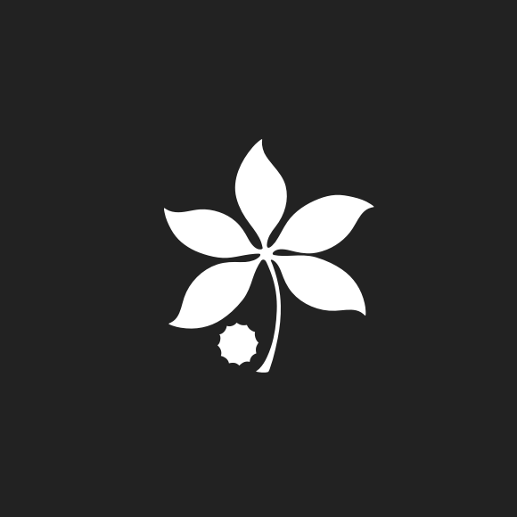 A black and white icon of a buckeye leaf.