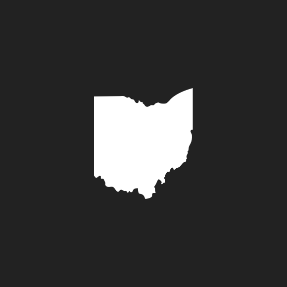 A black and white icon with the outline of Ohio