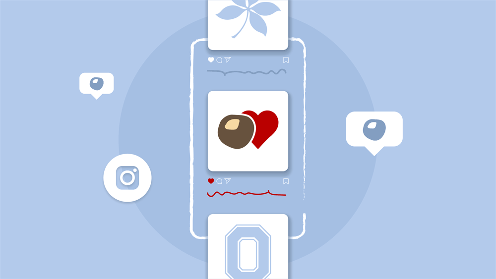 A graphic showing hearts and icons on a drawing of a cellphone