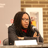 Ohio State alumnus C.J. Clardy speaks during a college affordability forum in Youngstown, Ohio. Clardy went through Ohio State's Young Scholars Program and earned a degree in special education this past spring.