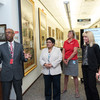 Ohio State President Michael V. Drake chats with staff at Procter & Gamble during the Ohio State Tour.