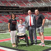 Prince Albert II of Monaco poses in Ohio Stadium with Buckeye Olympians (from left) Aina Cid I Centelles, Blake Haxton and gold medalist Kyle Snyder on Wednesday, August 31, 2016.